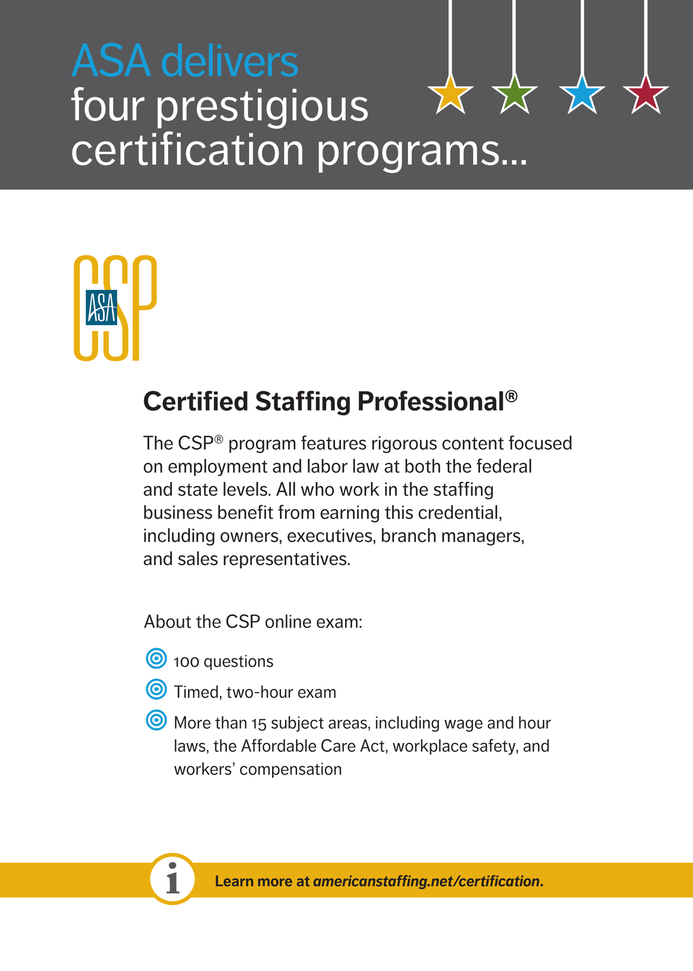 Asa Staffing Success Asa Certification Programs 2015 Page 2
