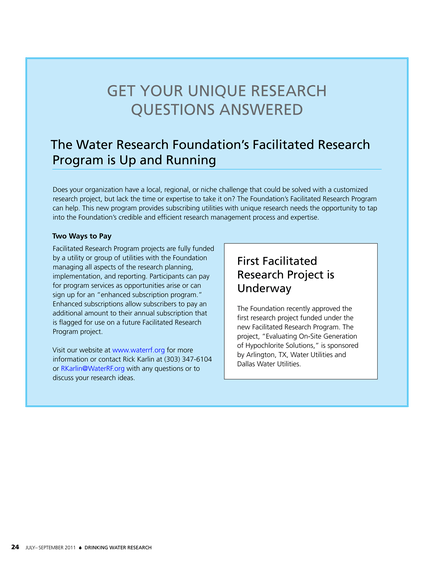 Efforts Underway To Fully Fund Idea >> Drinking Water Research July September 2011 Page 24 25