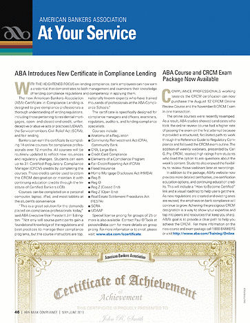 ABA Bank Compliance - May/June 2013 - page 46