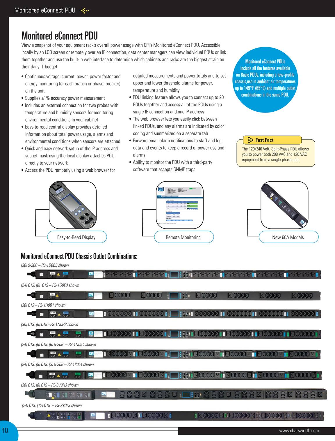 Chatsworth CPI eConnect Pro Switched PDU 208V 24-Outlet C13 C19 L6-1F0C3