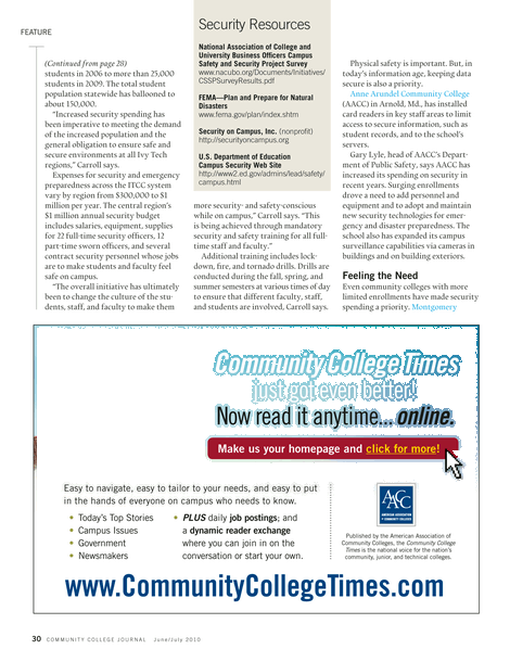 Community College Journal - June/July 2010 - Page 30-31