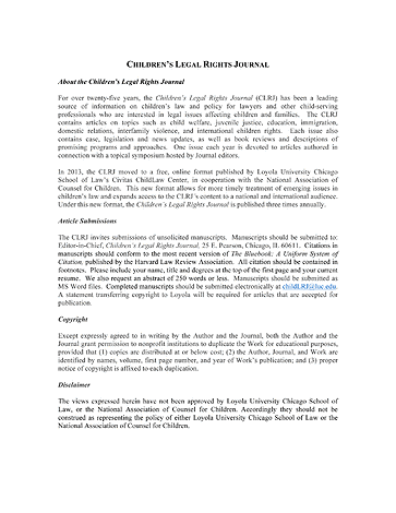Children S Legal Rights Journal Volume 35 Issue 3 Page Ii Iii