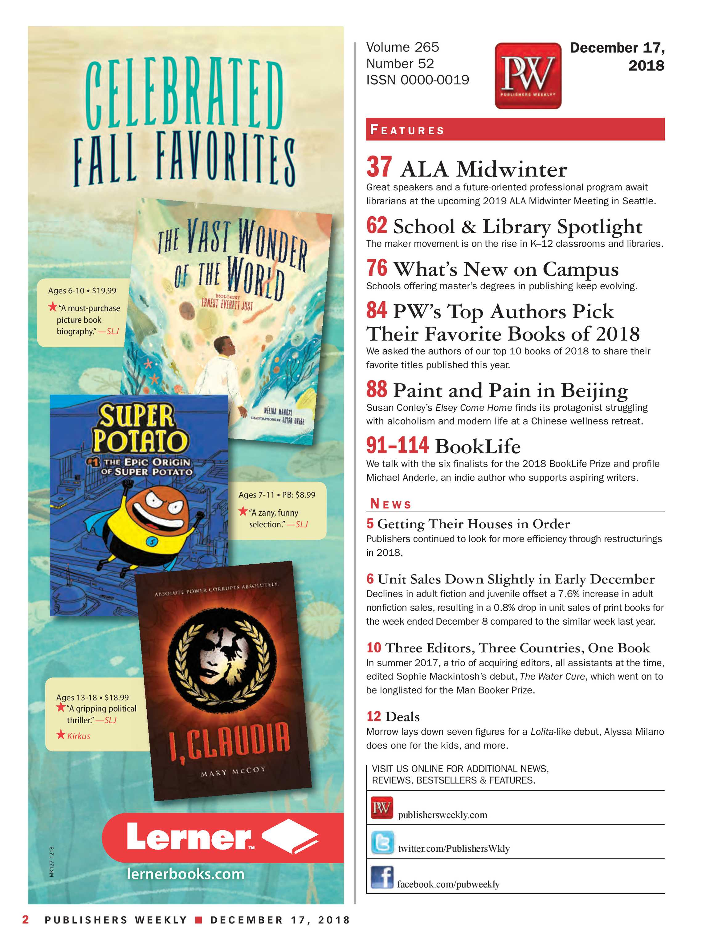 Publishers Weekly - December 17, 2018 - page 3