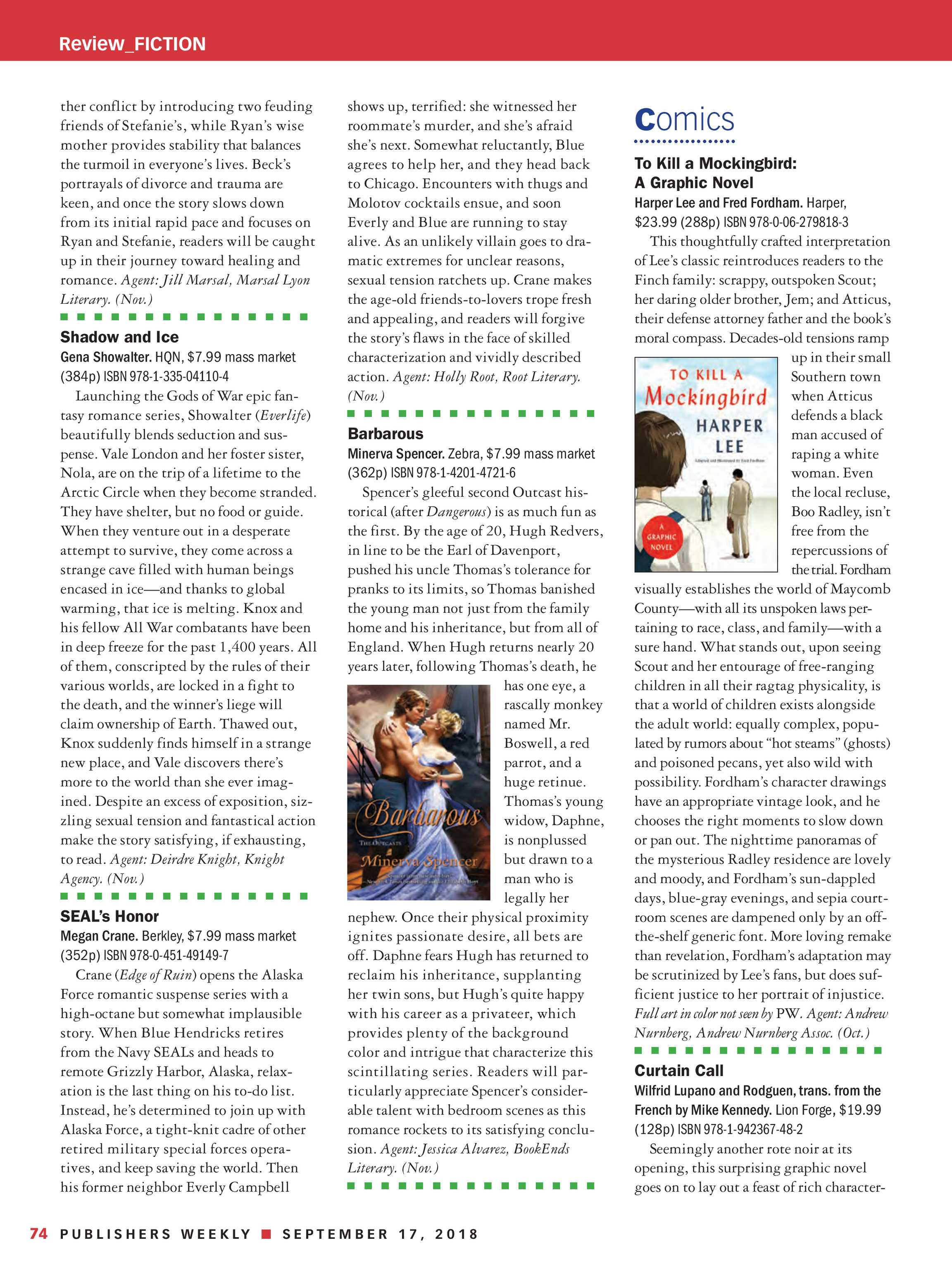 Publishers Weekly - September 17, 2018 - page 68