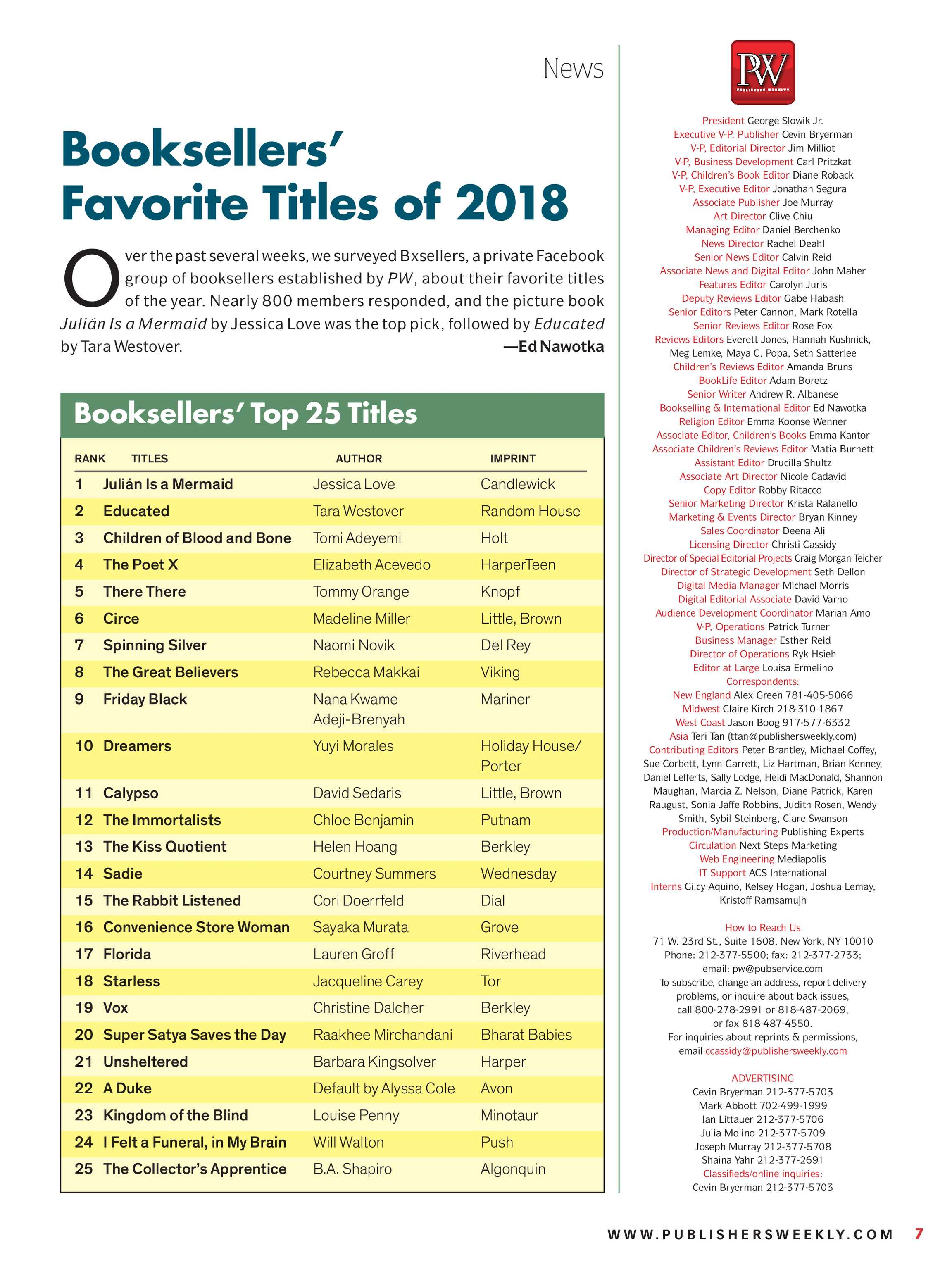 Publishers Weekly - December 24, 2018 - page 7