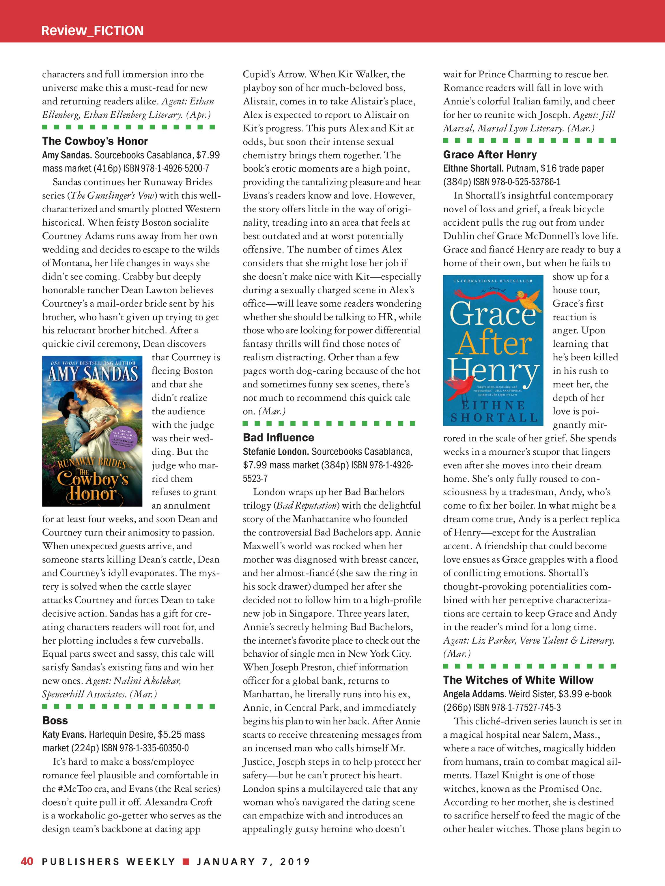 Publishers Weekly - January 7, 2019 - page 39