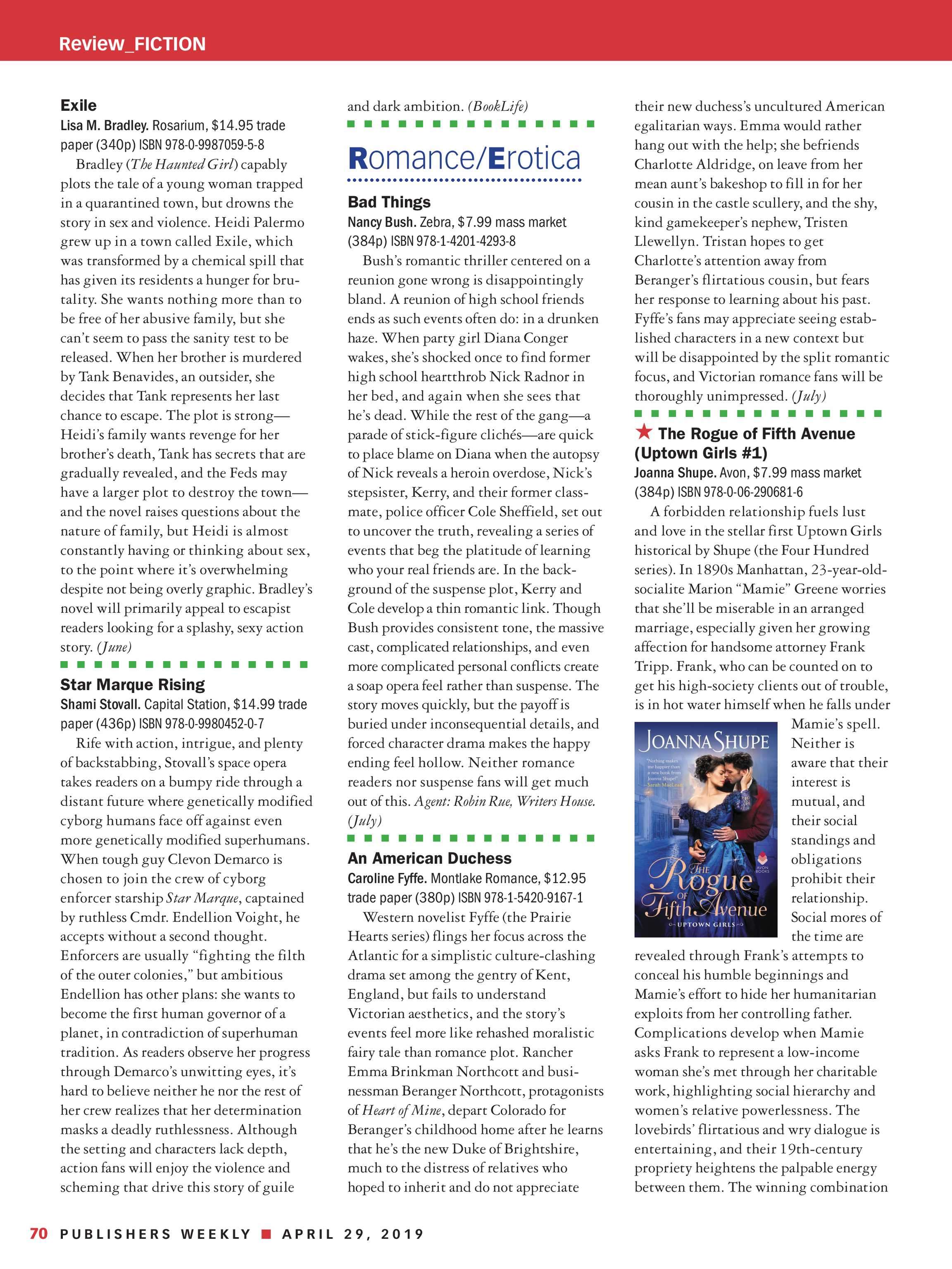 Publishers Weekly - April 29, 2019 - page 70