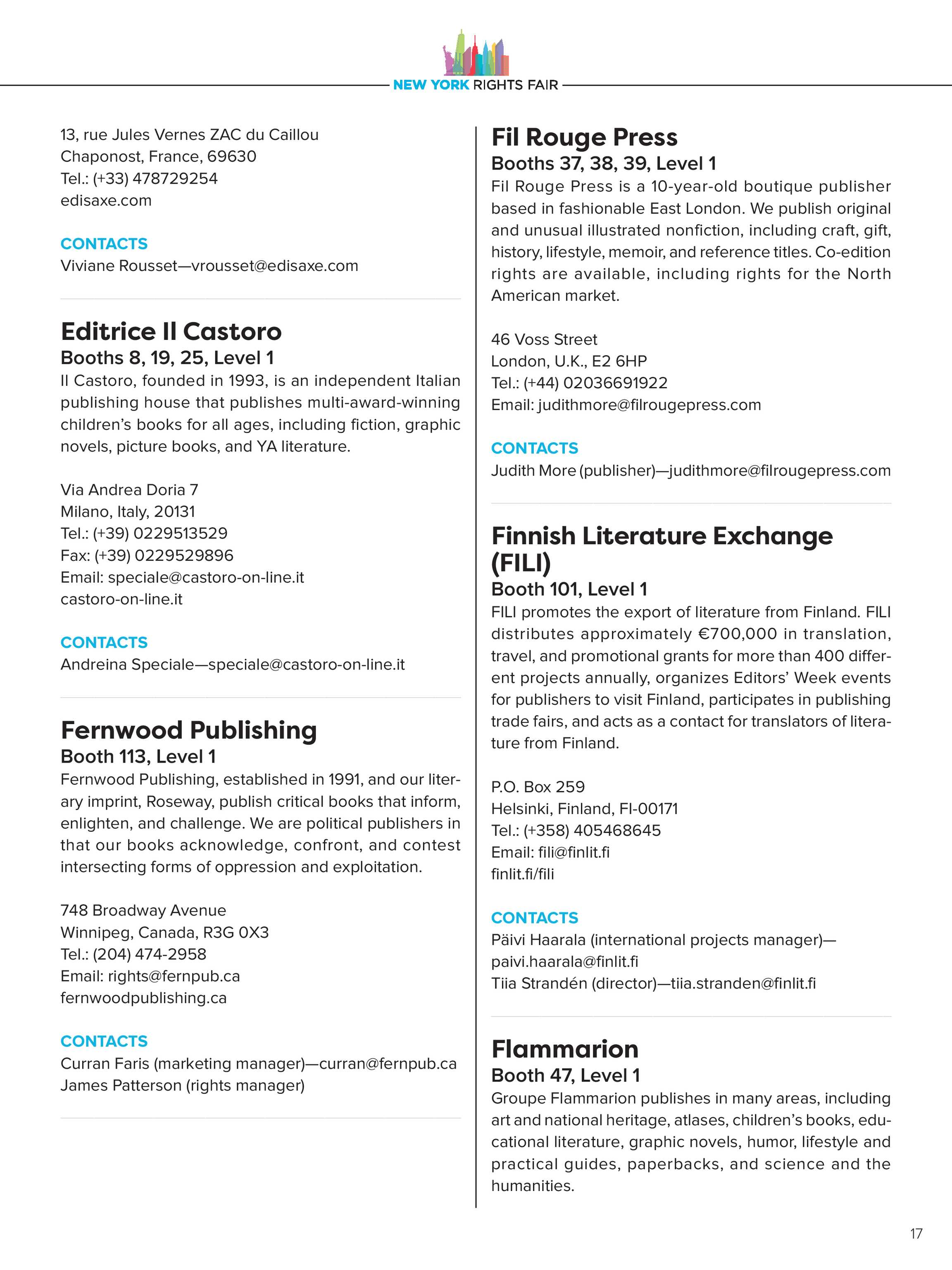 Publishers Weekly - NYRF Directory - page 17