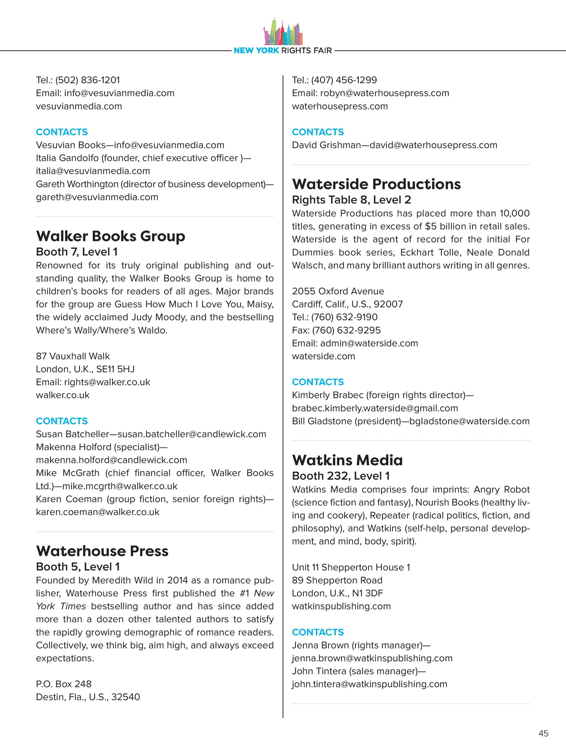Publishers Weekly - NYRF Directory - page 45