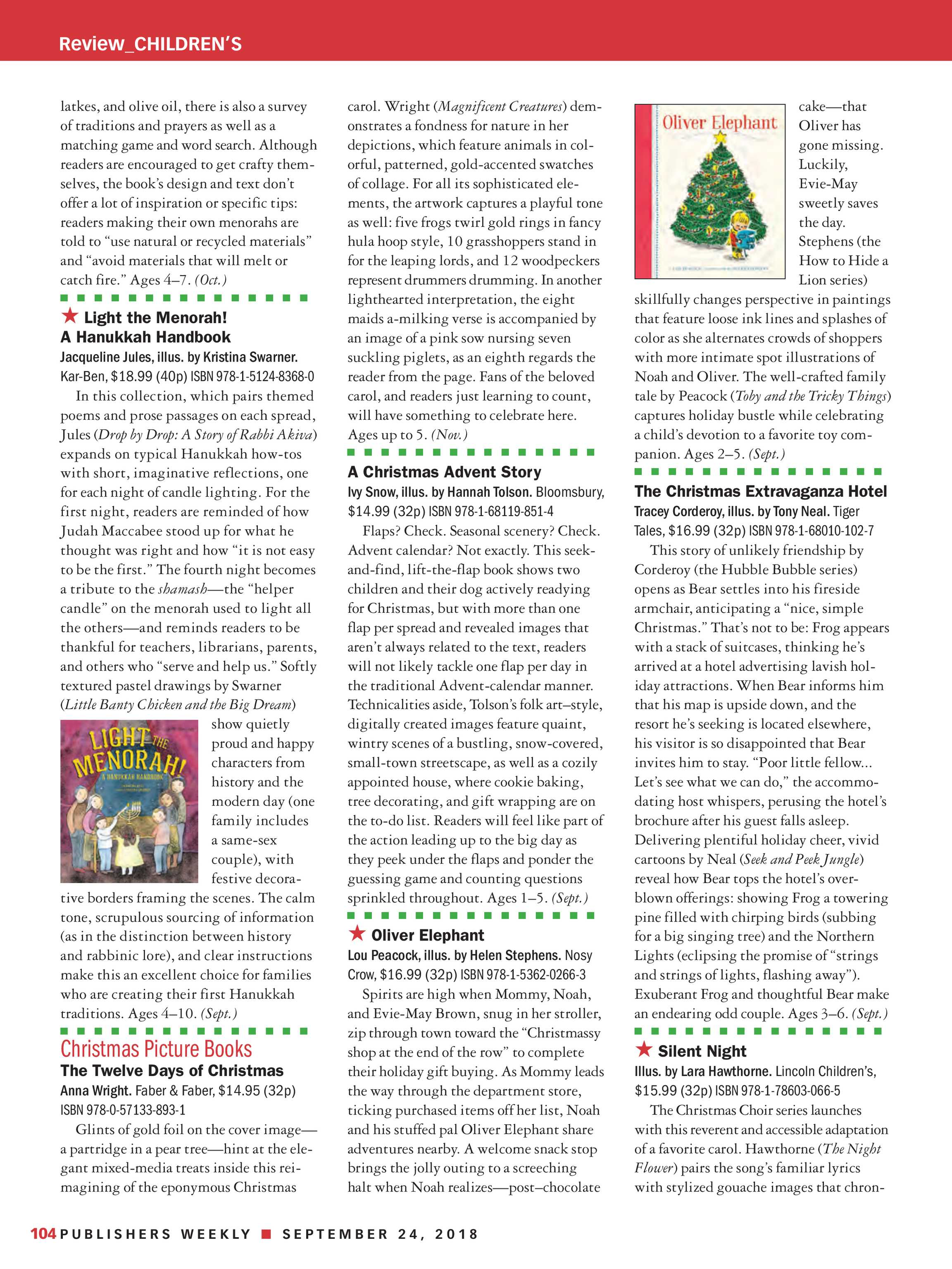 Publishers Weekly - September 24, 2018 - page 104