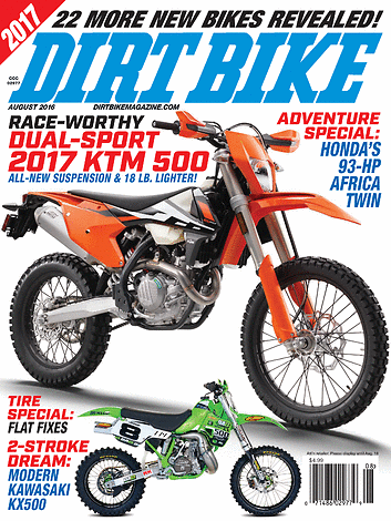 Dirt Bike Magazine - August 2016 - Front Cover