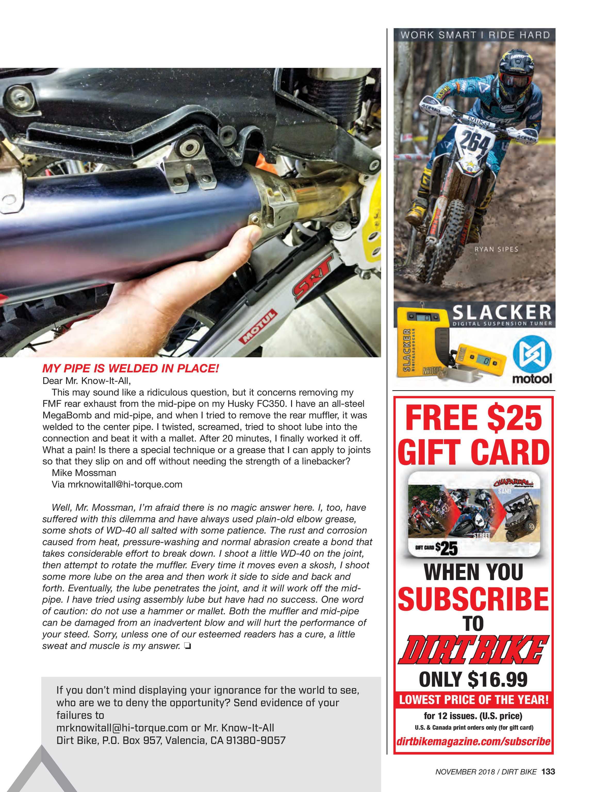 Dirt Bike Magazine - November 2018 - page 133