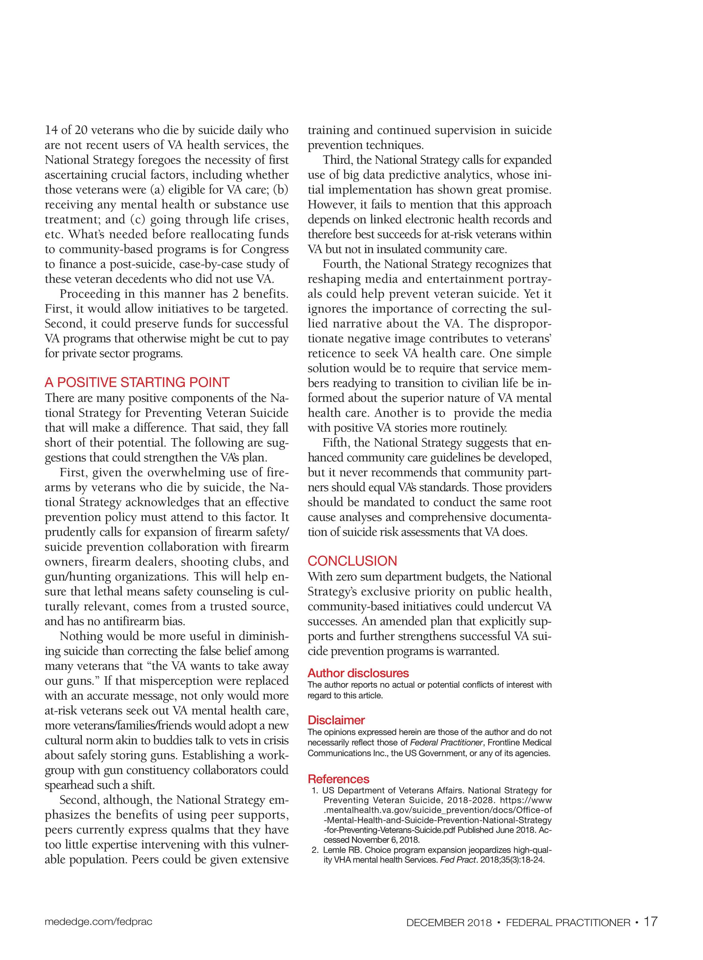 Federal Practitioner - December 2018 - page 22