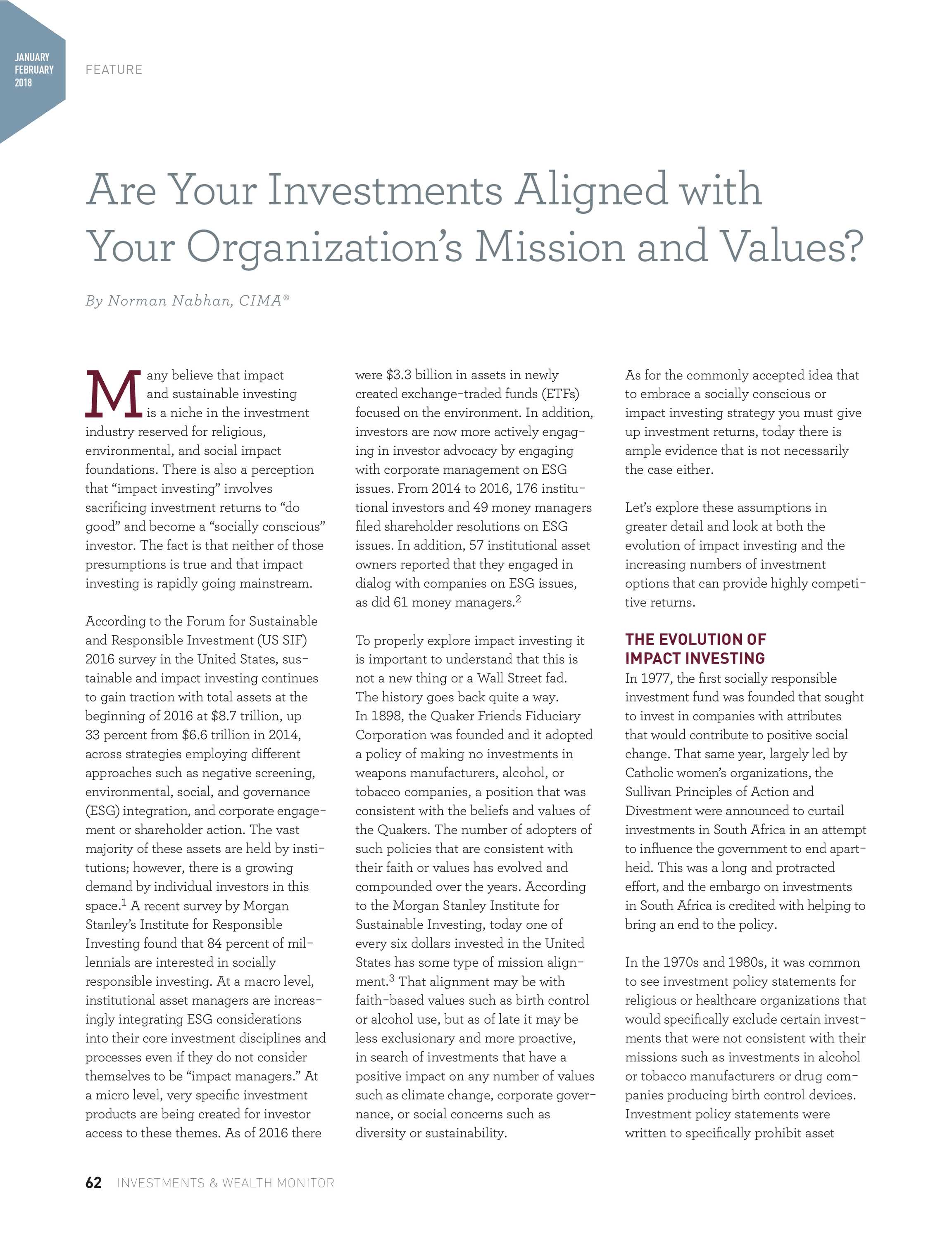 Investments & Wealth Monitor - January/February 2018 - page 62
