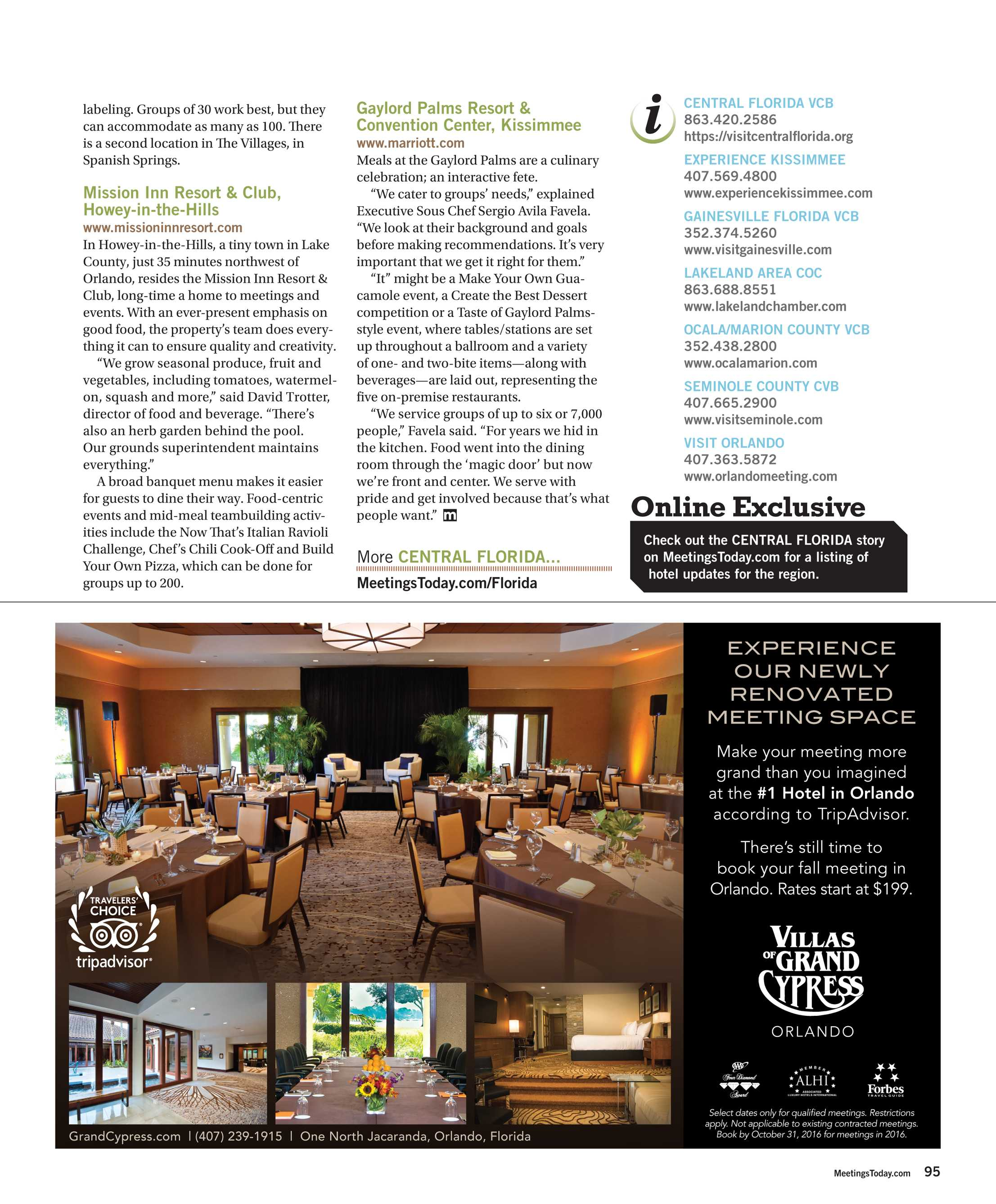 Newly Renovated And Re Imagined Central >> Meetings Today September 2016 Page 95