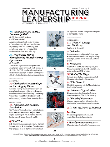 Manufacturing Leadership Journal February 2016 Inside Front