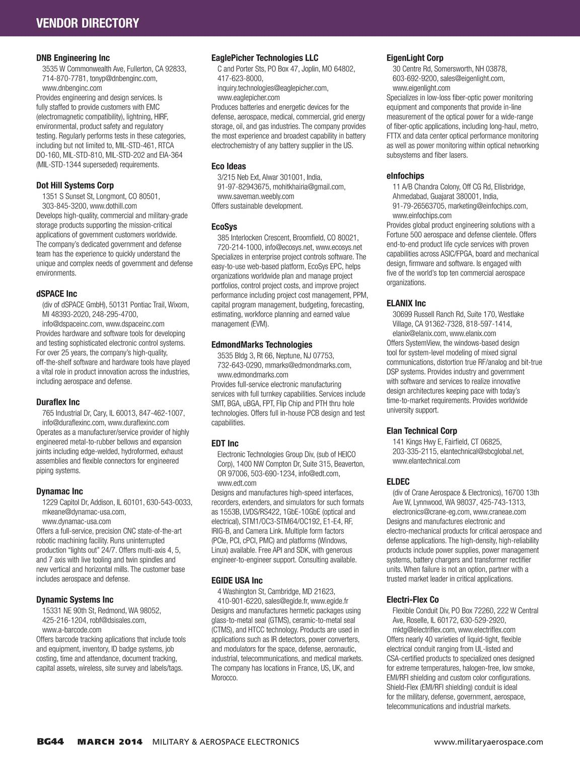 Military & Aerospace Electronics - Buyers Guide 2014 - page BG45
