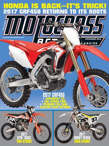 Motocross Action Magazine - November 2016 - Front Cover