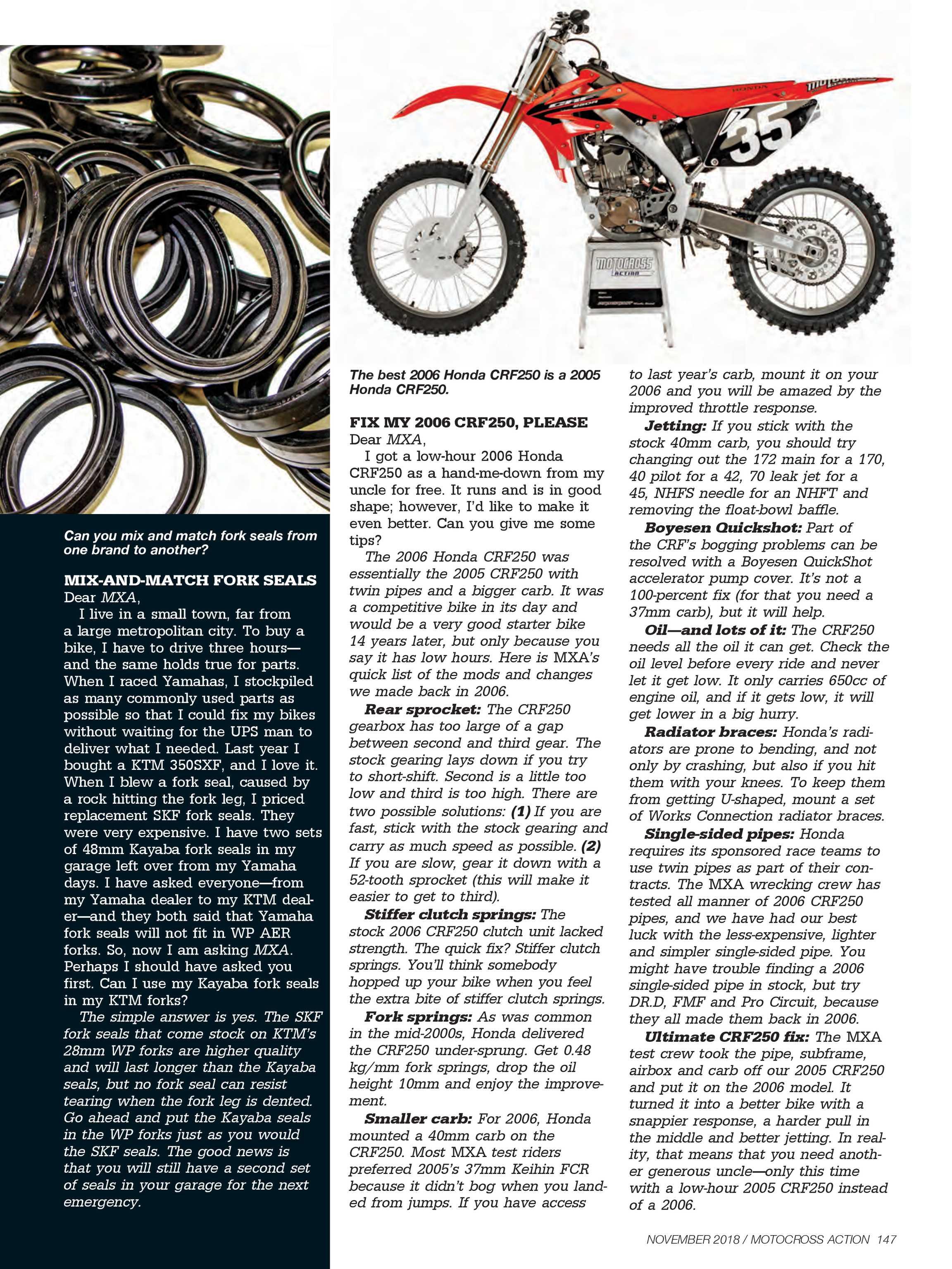 Motocross Action Magazine - November 2018 - page 146