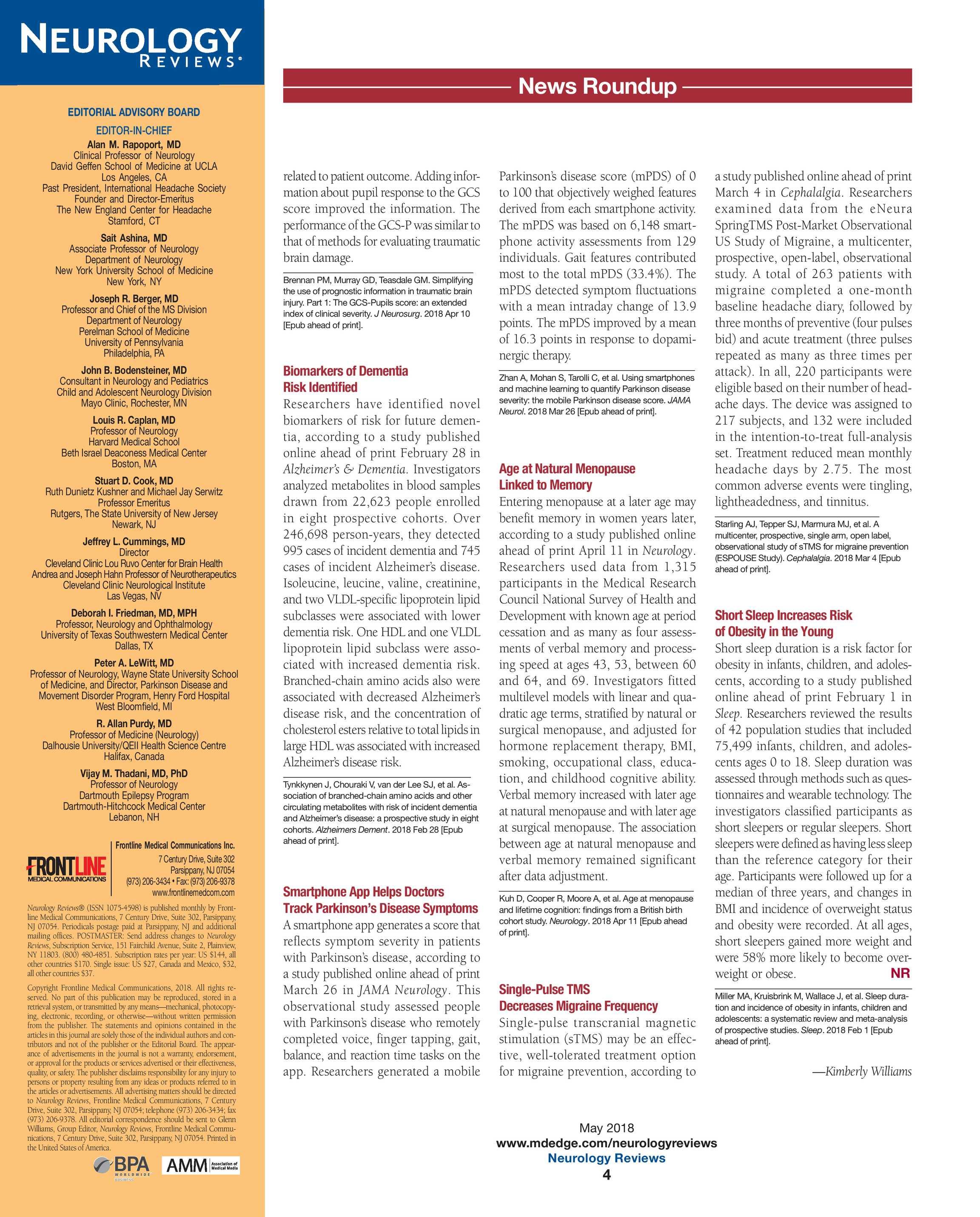 Neurology Reviews - NR MAY 2018 - page 4