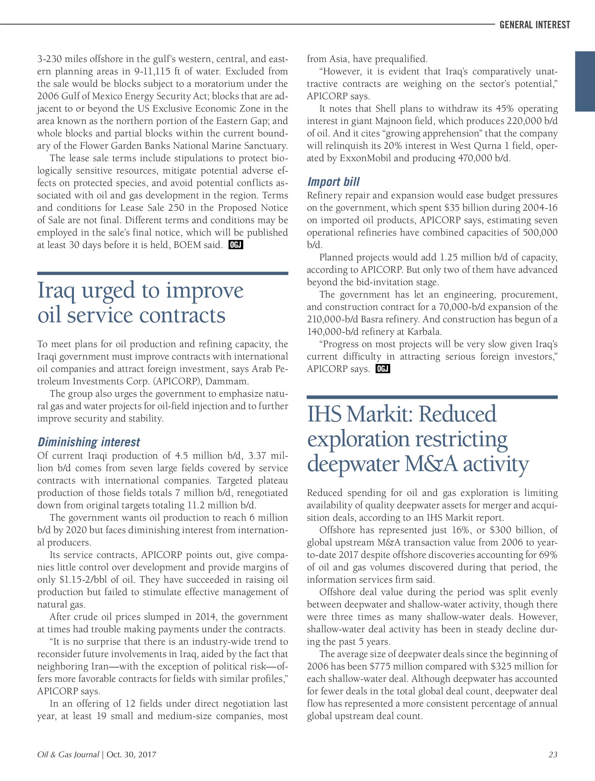 Oil & Gas Journal - October 30, 2017 - page 23