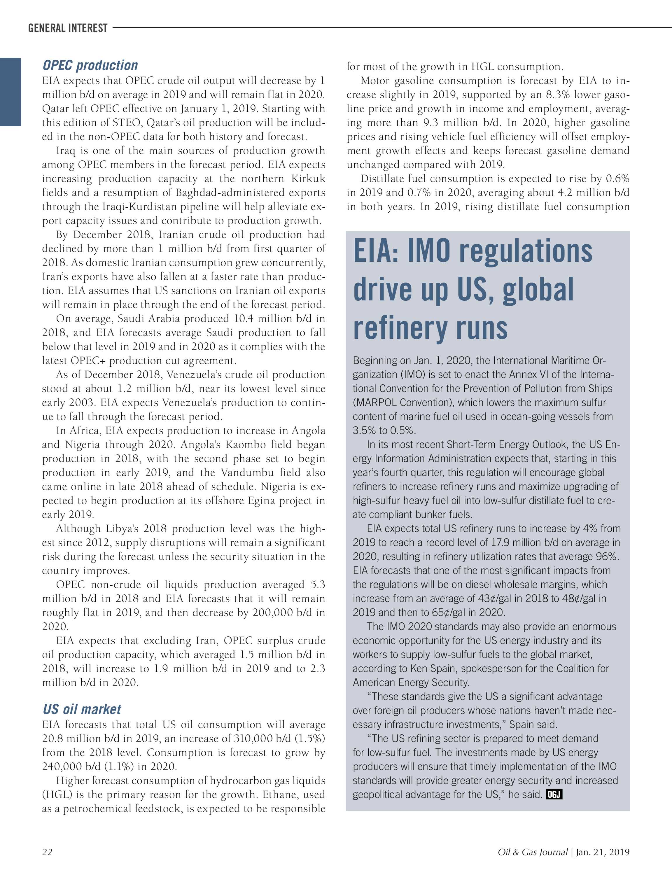 Oil & Gas Journal - January 21, 2019 - page 22