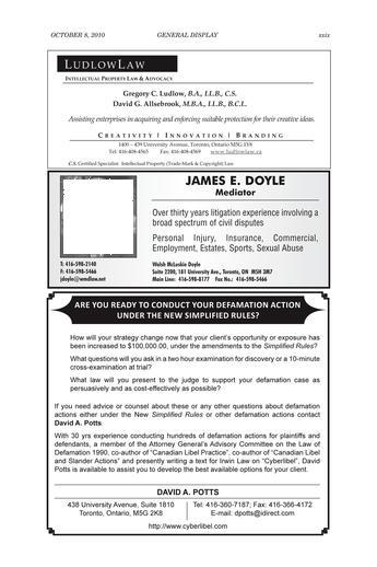 Ontario Reports - October 8, 2010 - Page xxviii-xxix