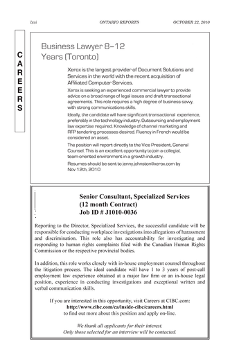 Ontario Reports - October 22, 2010 - Page lxvi-lxvii