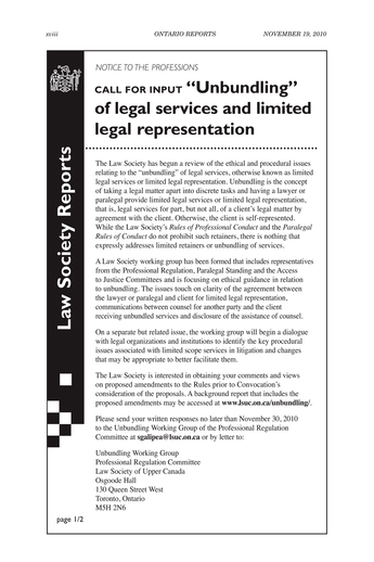 Ontario Reports November 19 2010 Page Xviii Xix