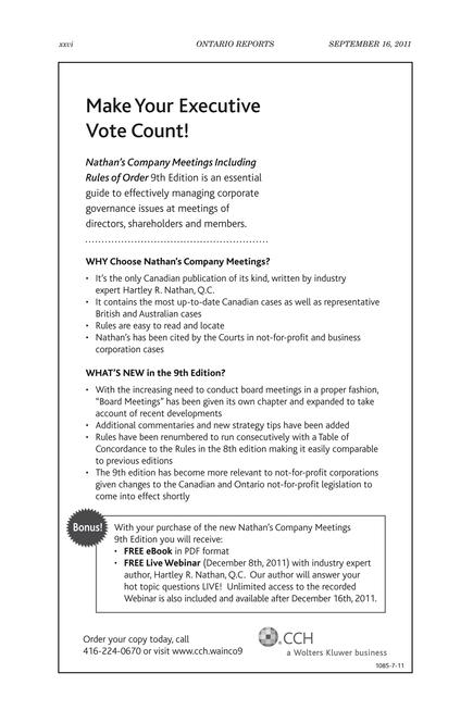 Ontario Reports - September 16, 2011 - Page xxvi-xxvii