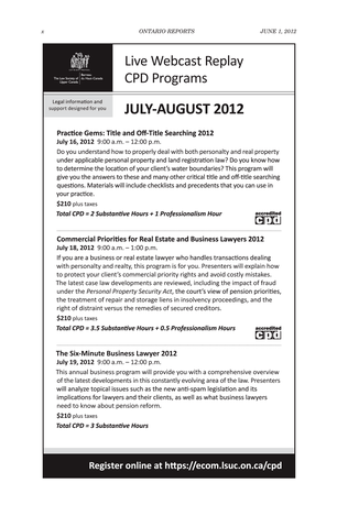 Ontario Reports June 1 2012 Page X Xi