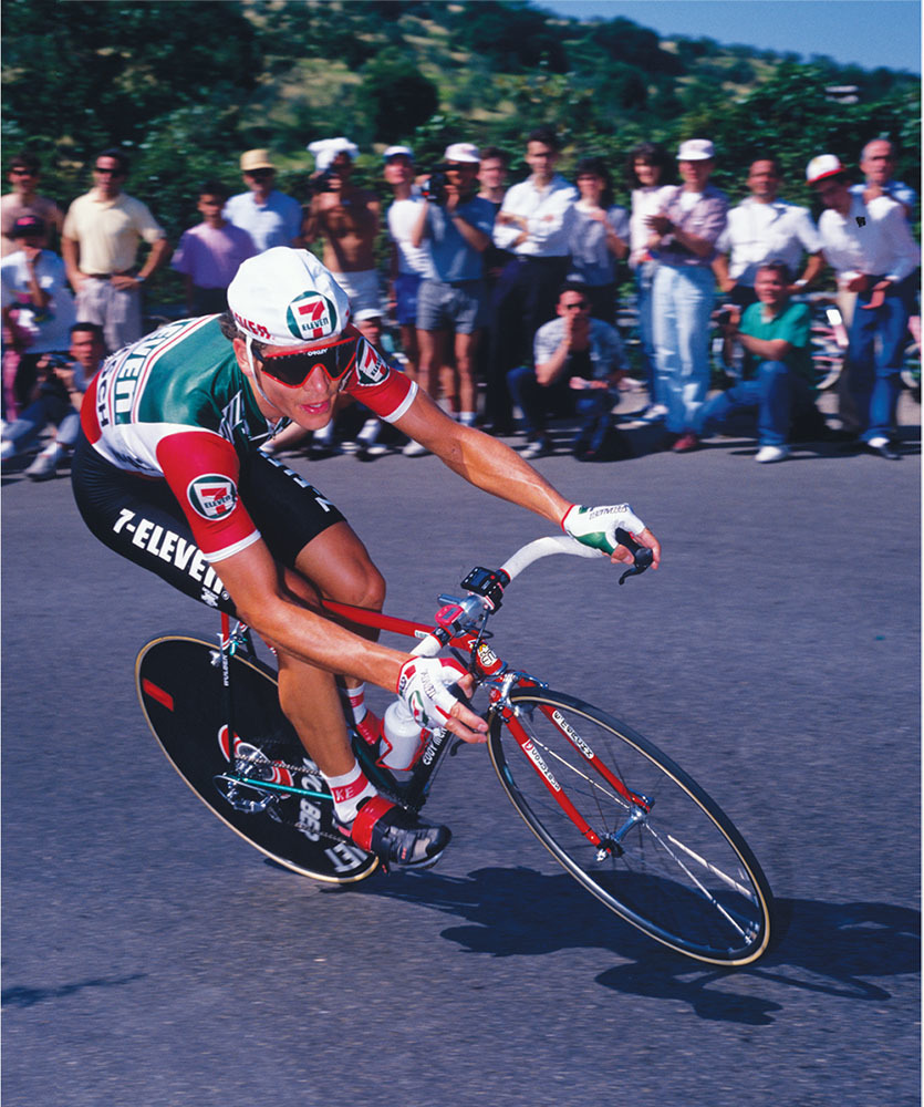 andy hampsten uses a low-profile bike