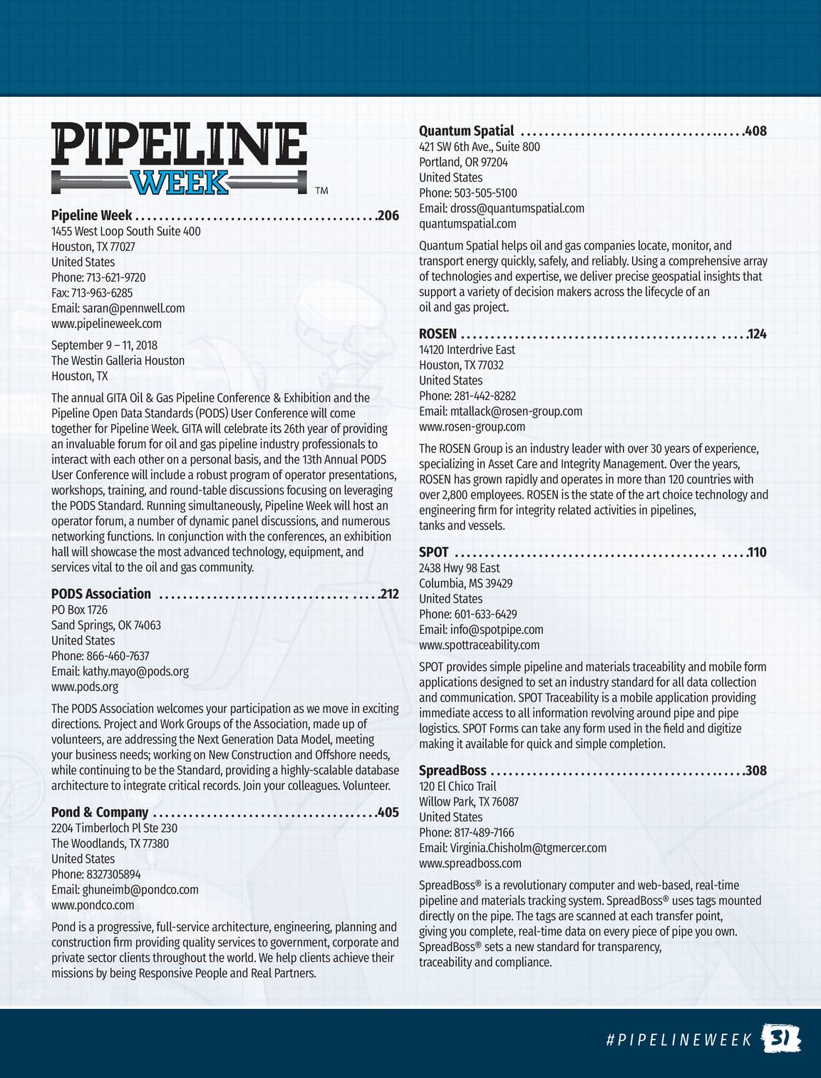 Pennwell Supplements - Pipeline Week 2017 Show Guide - page 30