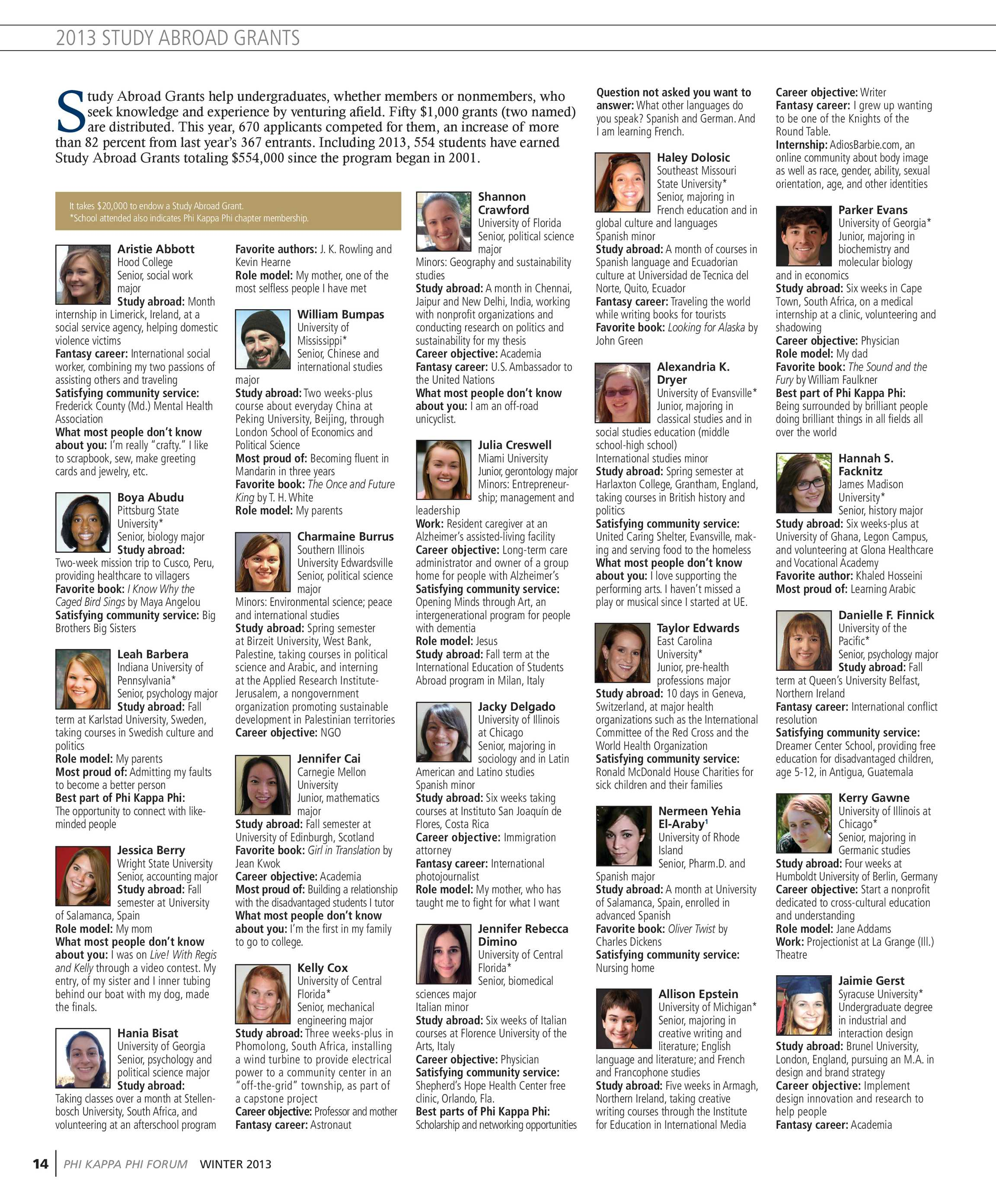 Phi Kappa Phi Forum - Winter 2013 - page 14