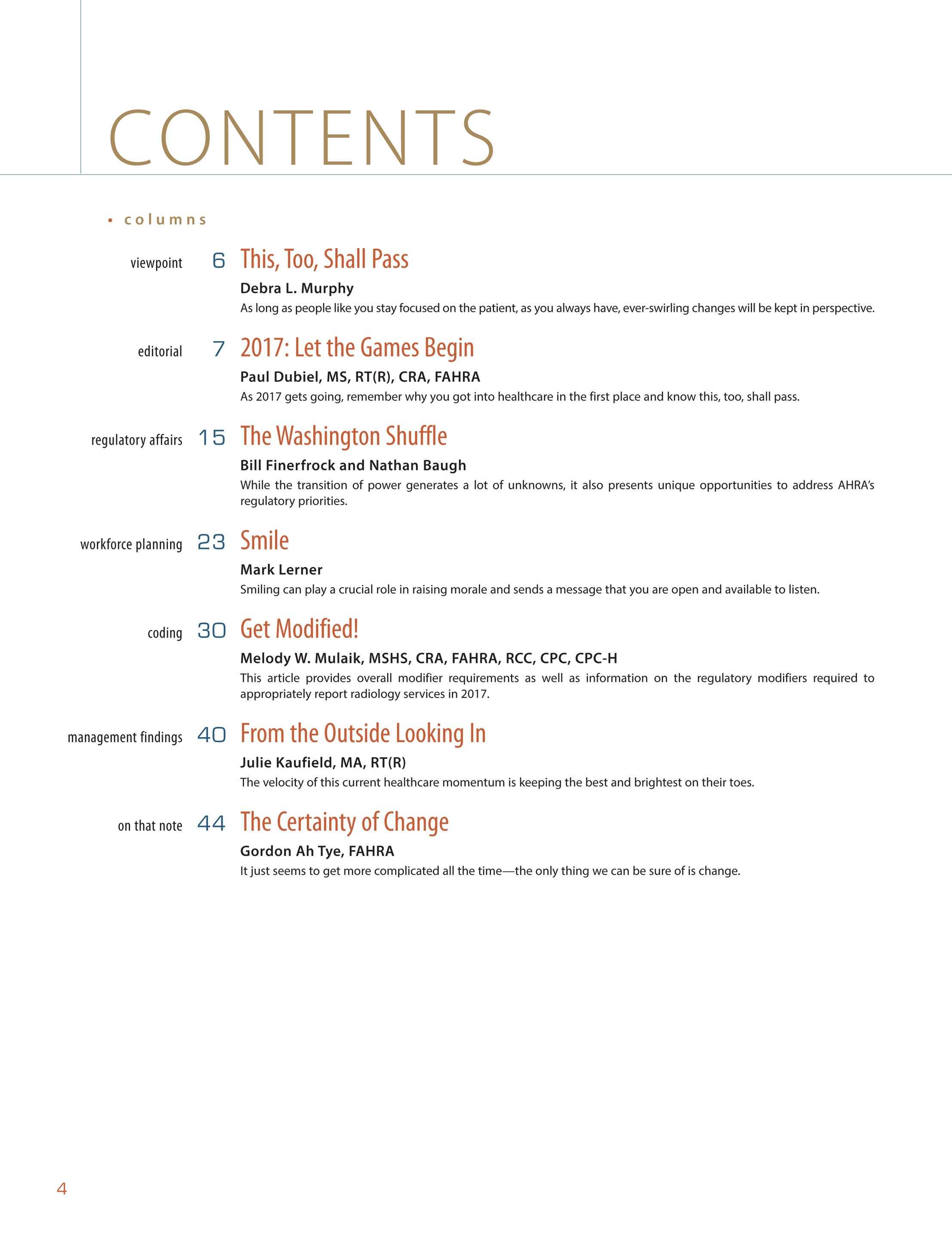 Radiology Management - January/February 2017 - page 3