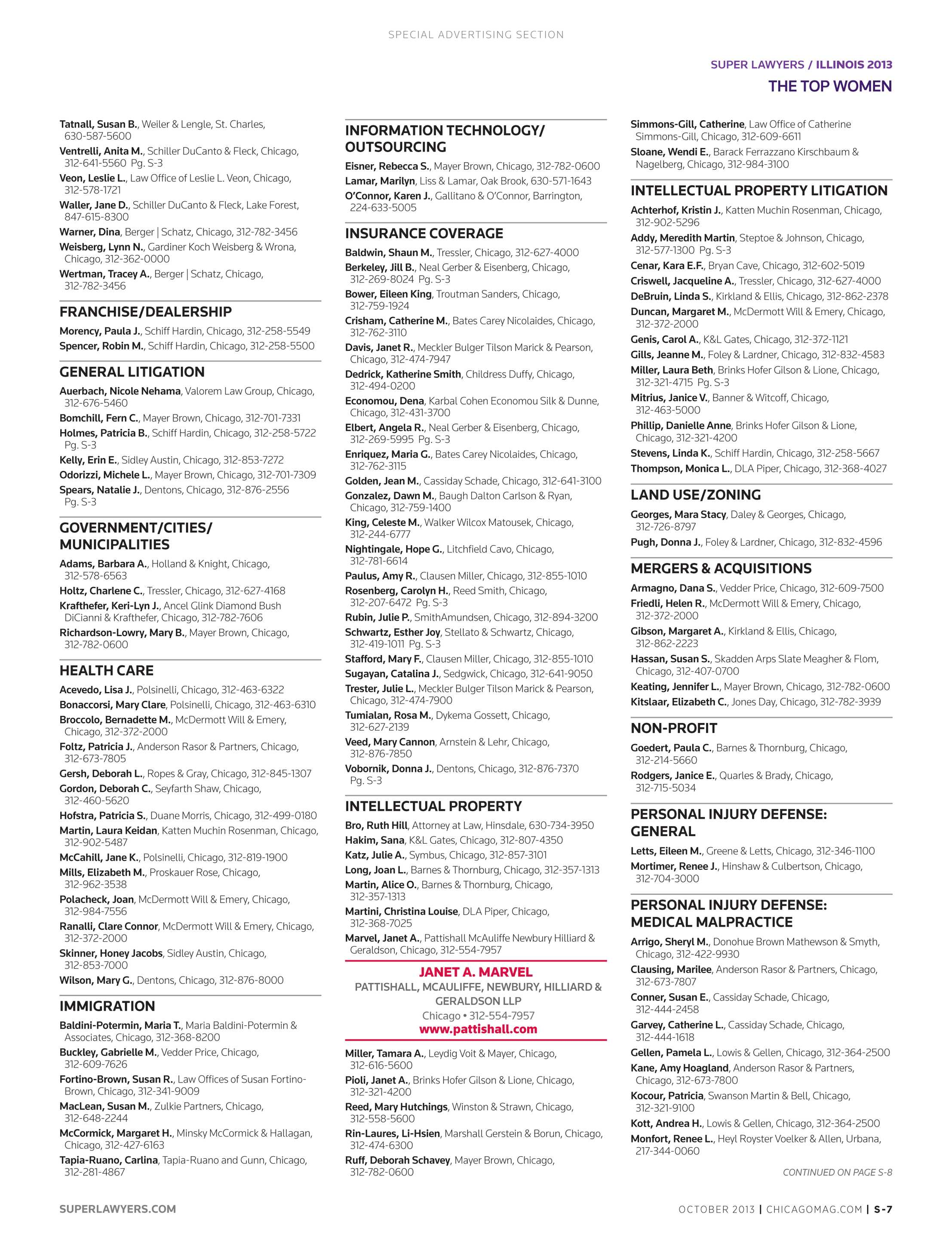 super lawyers the top women attorneys in illinois 2013 page s 7