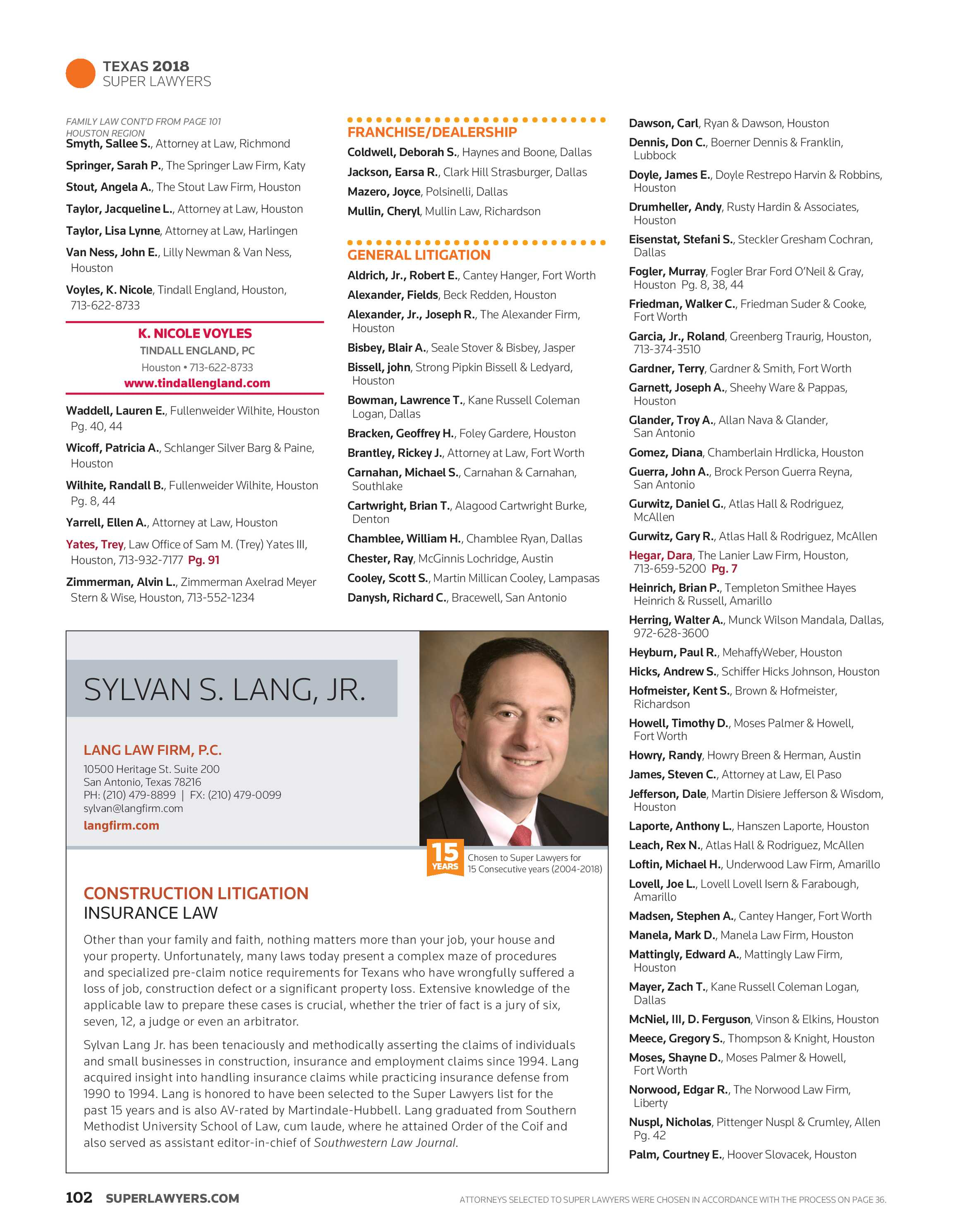 Super Lawyers - Texas 2018 - page 101