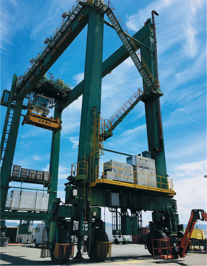 port of oaklands new hybrid cranes known as rubber tired gantry cranes