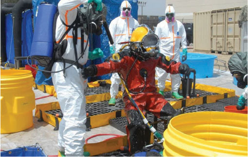 a diver being decontaminated