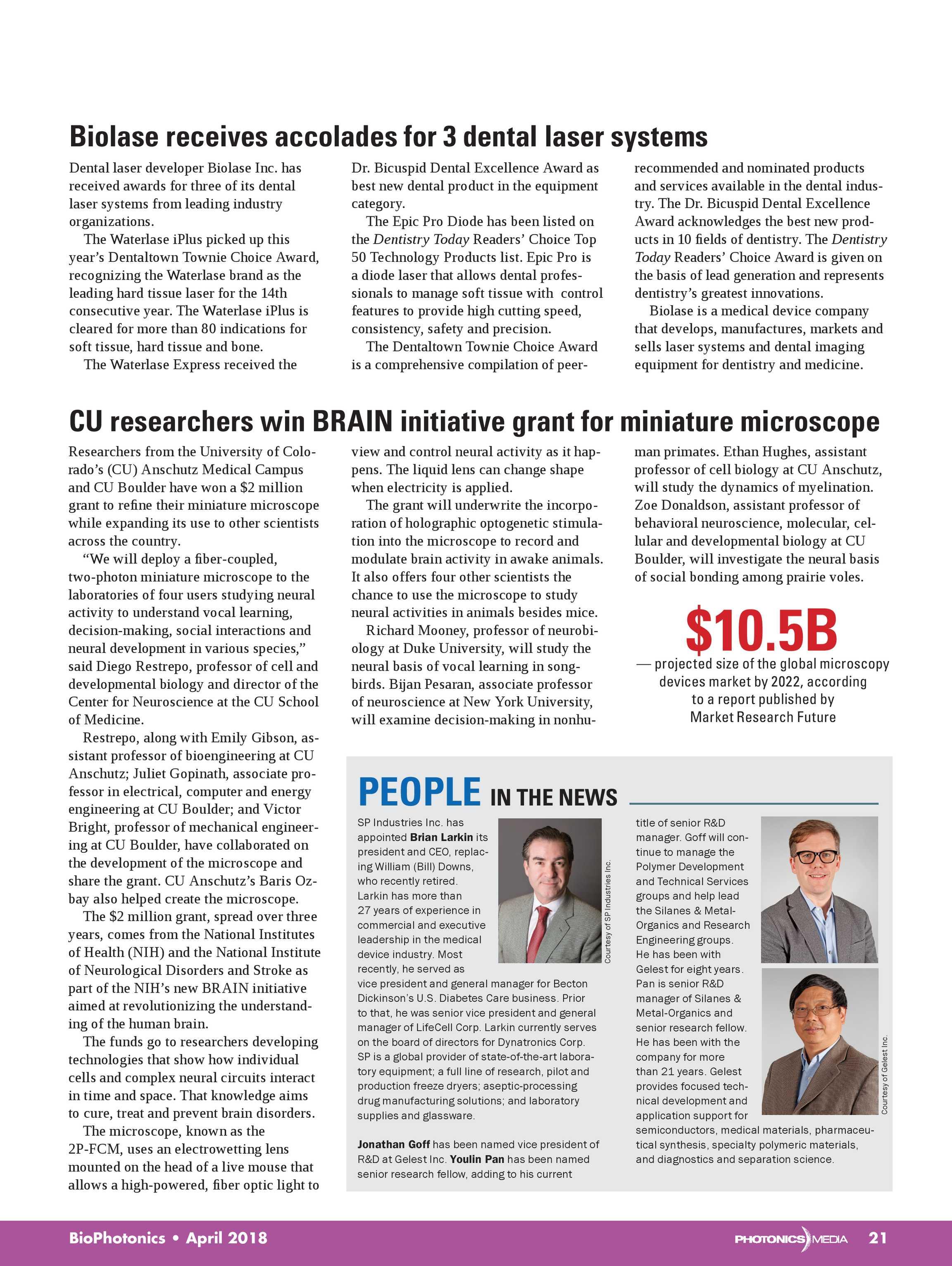 Bio Photonics - April 2018 - page Cover