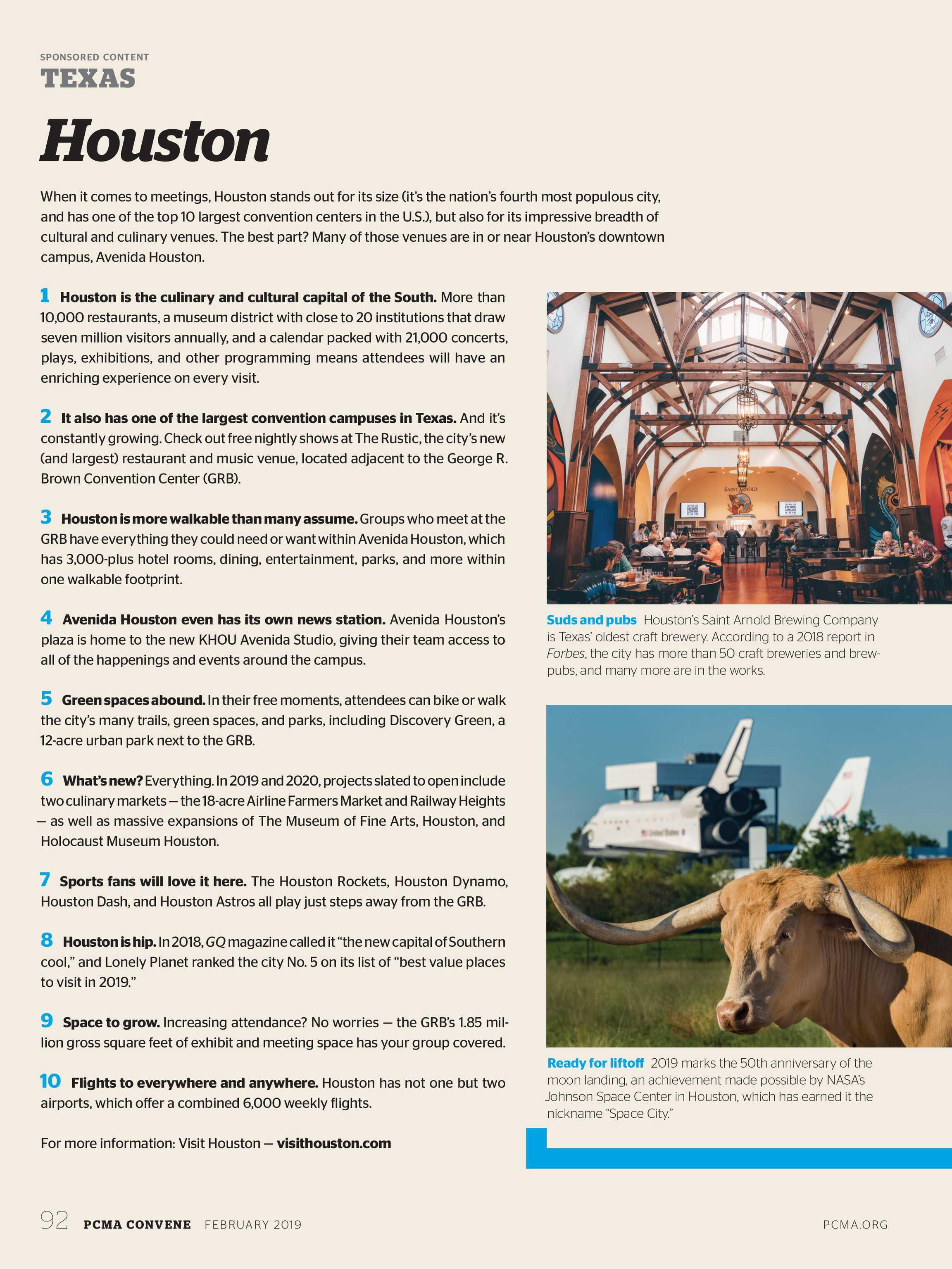 Best Houston Restaurants 2020 Convene   February 2019   page 92