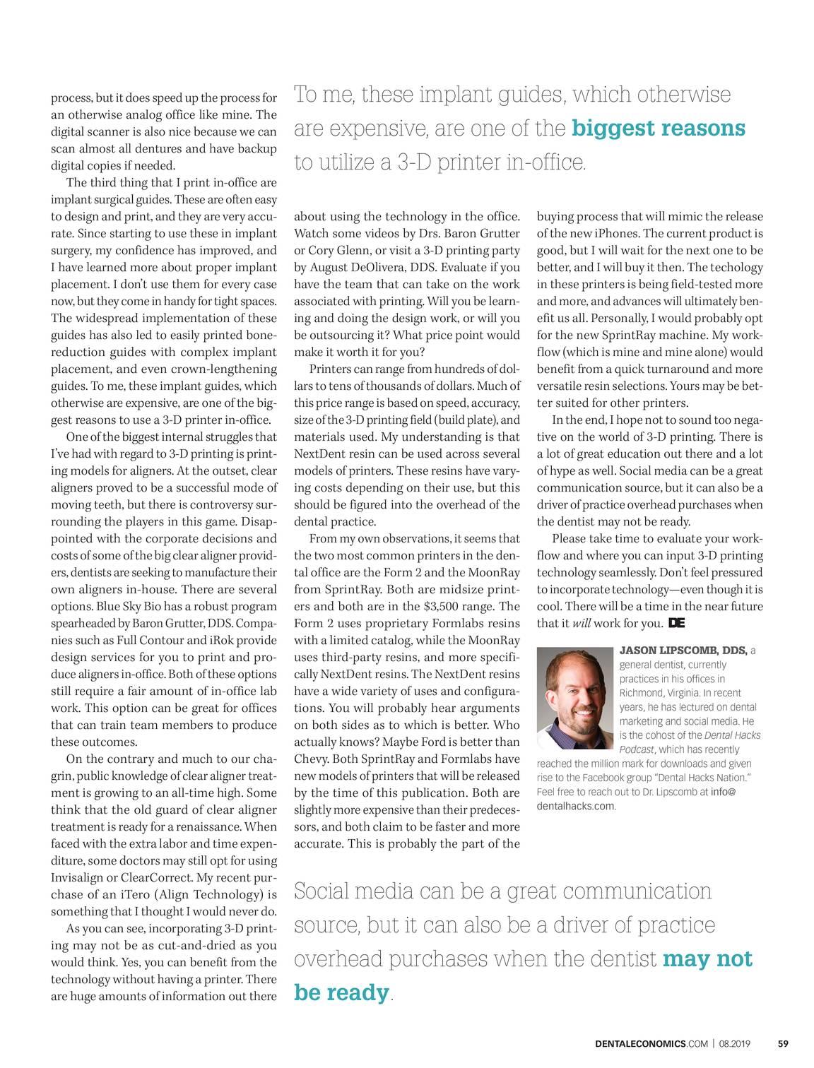 Dental Economics - August 2019 - page 60