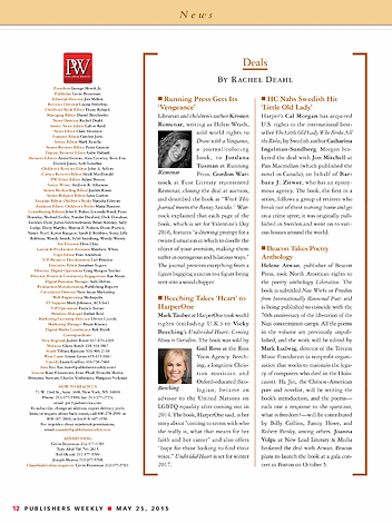 Publishers Weekly - May 25, 2015 - Page 12-13