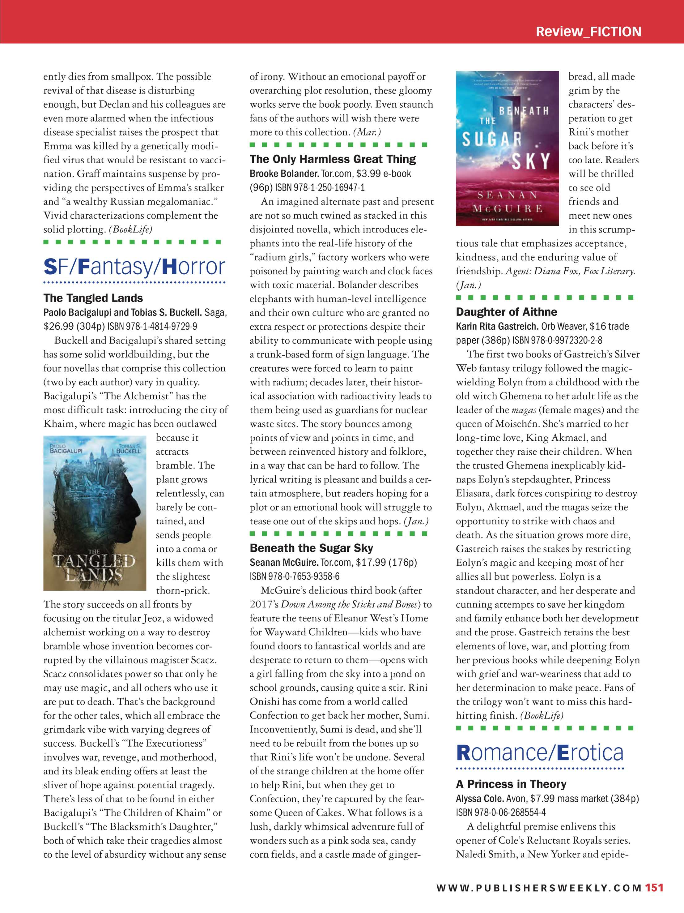 Publishers Weekly - December 11, 2017 - page 151