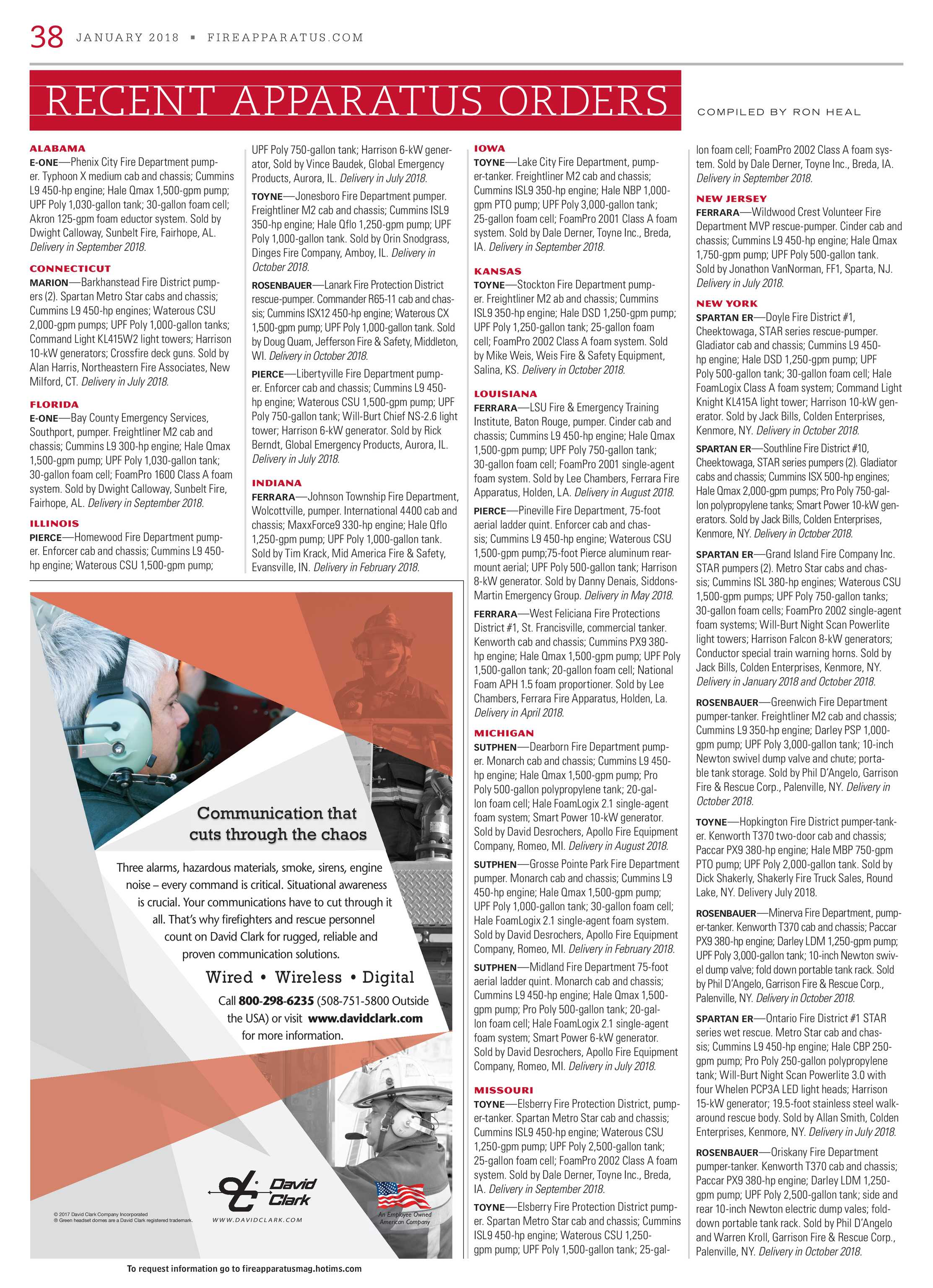 Fire Apparatus Magazine - January 2018 - page 38