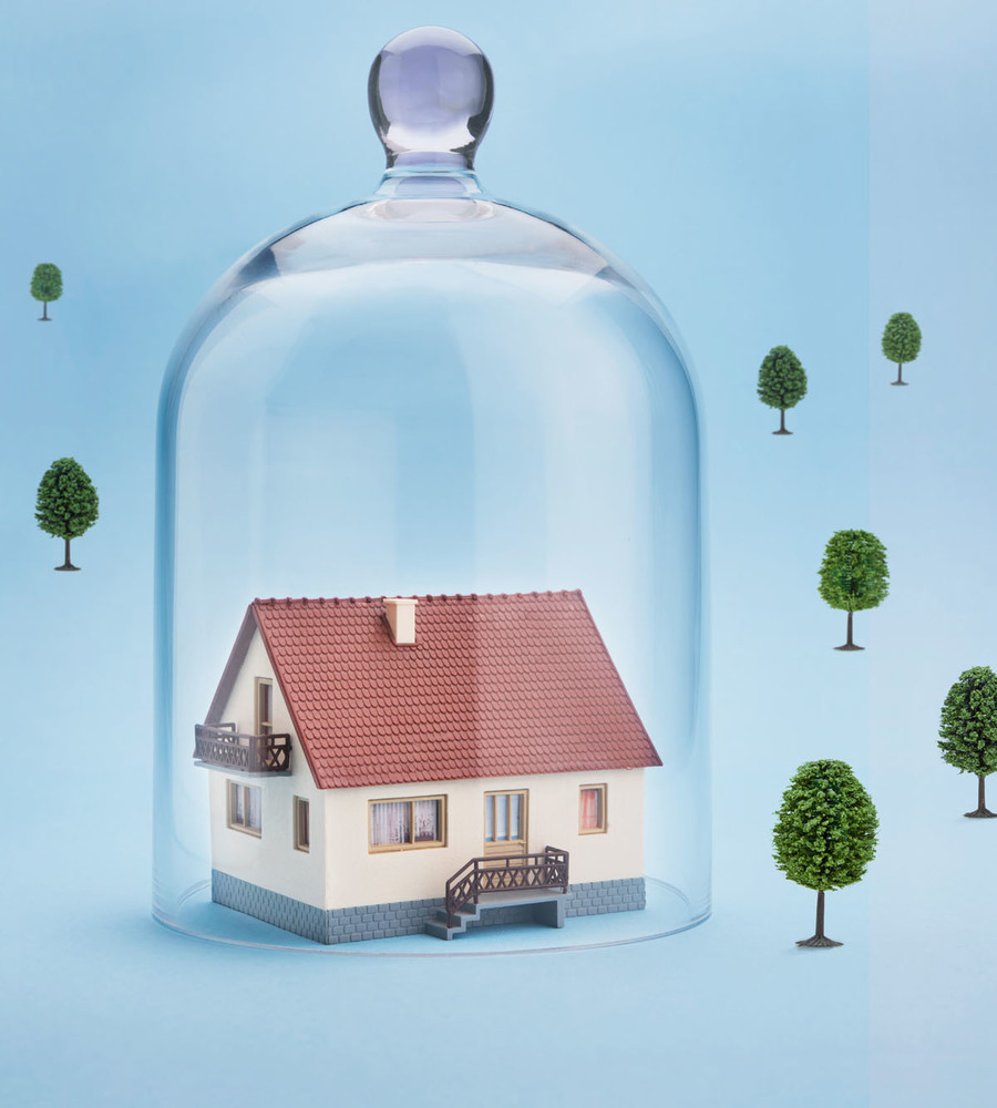 Animated image of trees,glass,jar and house