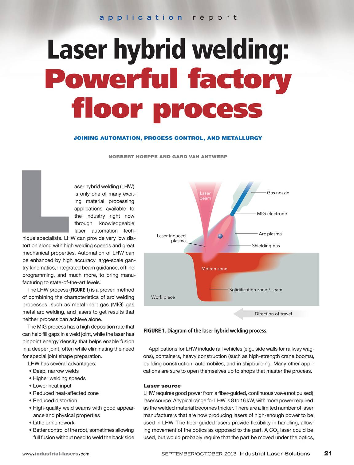 Industrial Laser Solutions September October 2013 Page 21 Diagram Of Welding Process
