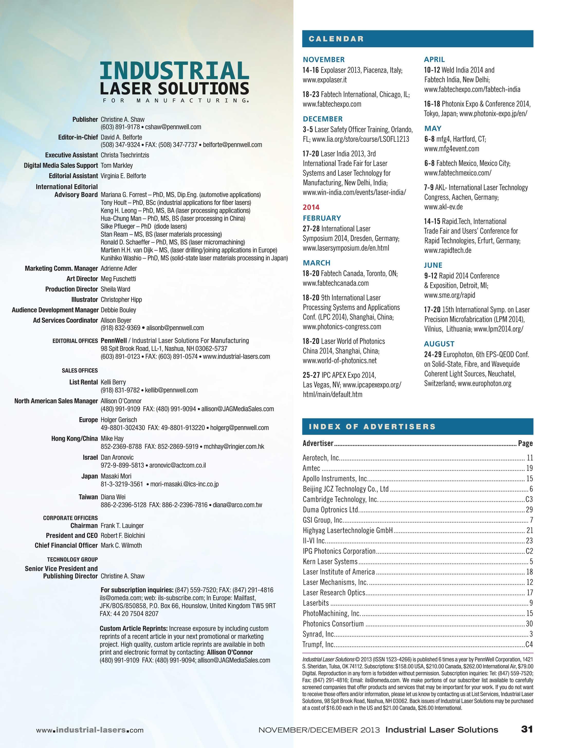 Industrial Laser Solutions - November/December 2013 - page 31