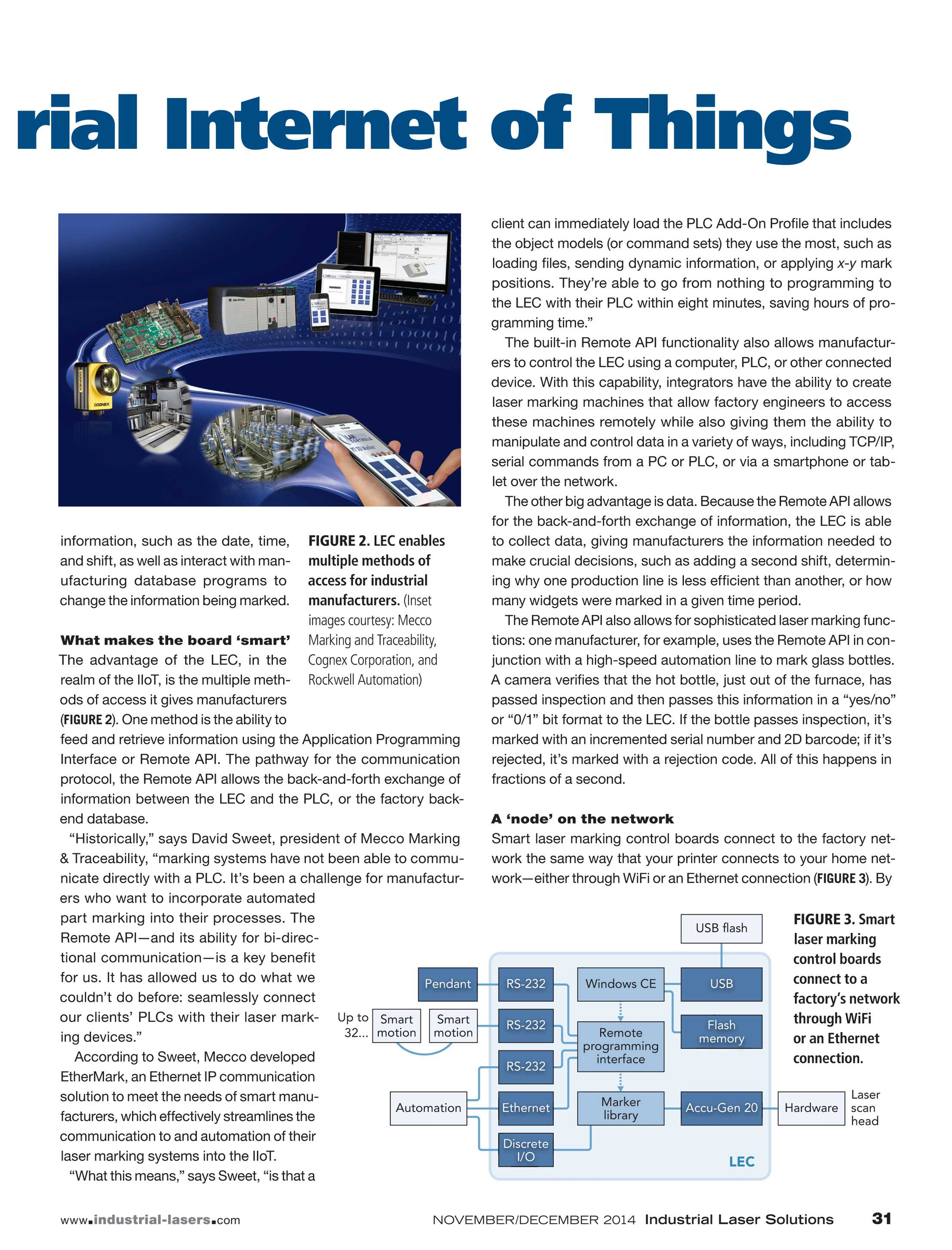 Industrial Laser Solutions November December 2014 Page 31 Marked 2d Bar Codes On Printed Circuit Board Marking Control Boards