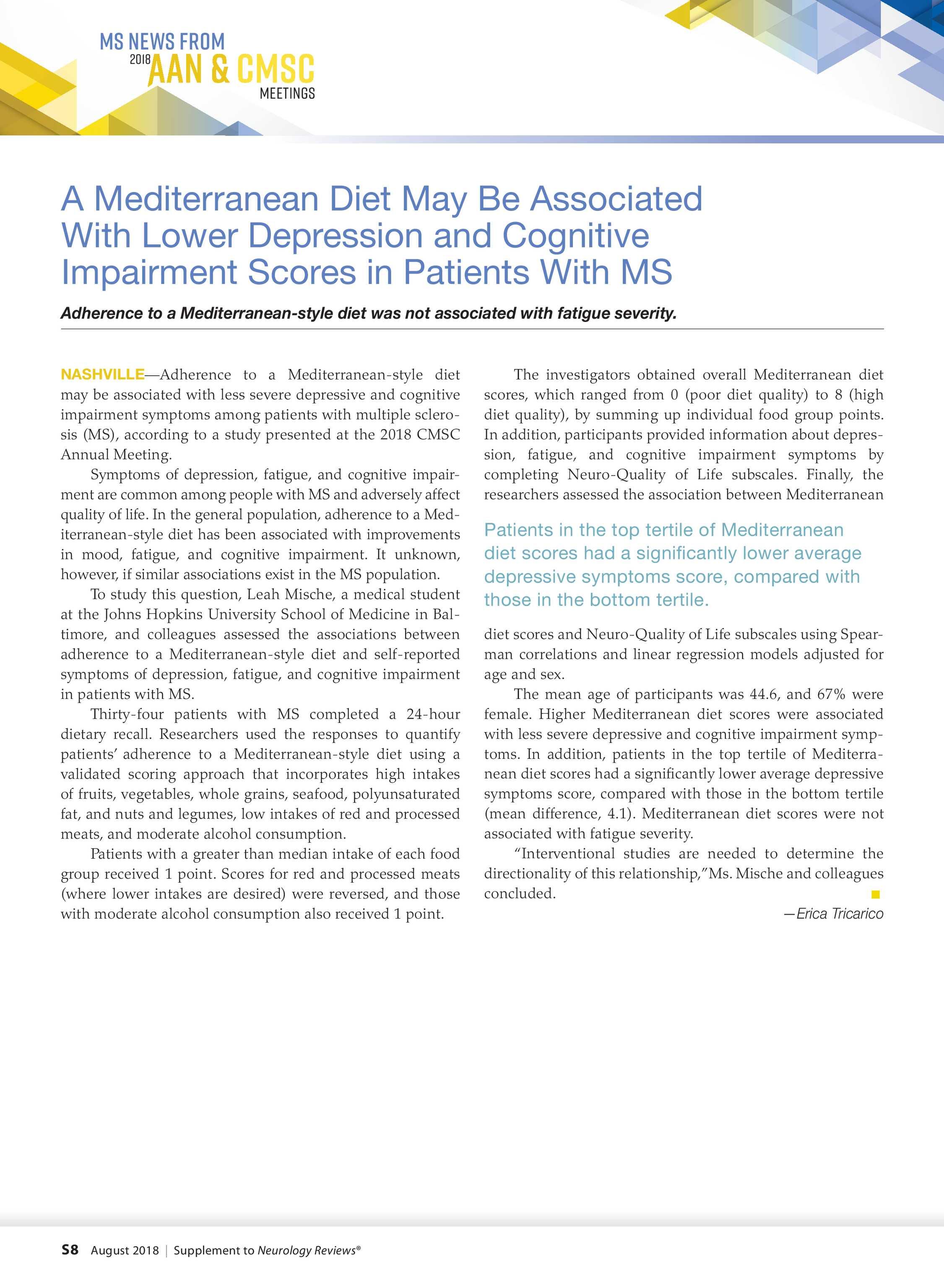 Neurology Reviews - NR AAN CMSC Supplement 0818 - page S7